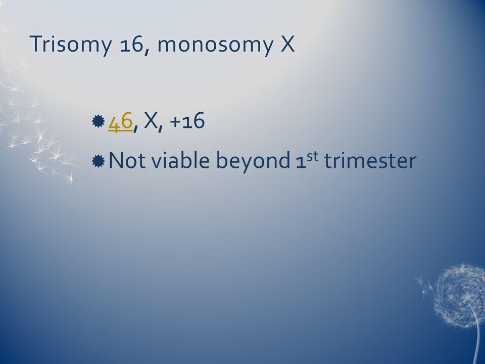 Trisomy 16, monosomy X 46, X, +16 Not viable beyond 1st trimester