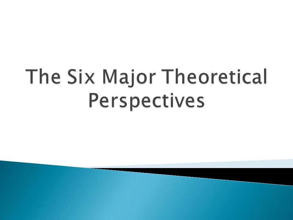 The Six Major Theoretical Perspectives