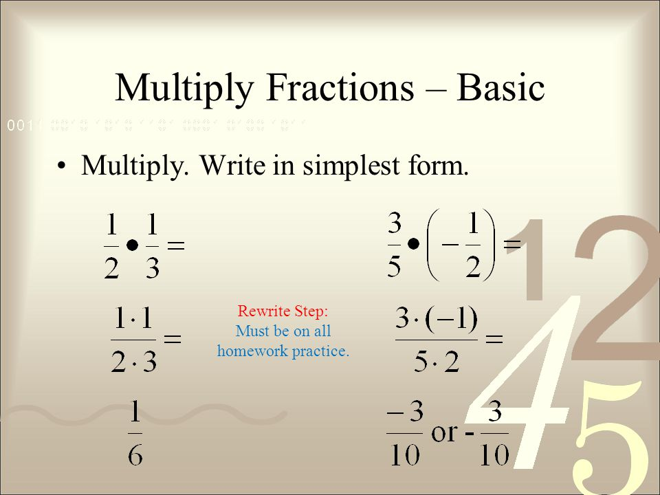 Multiply Fractions – Basic