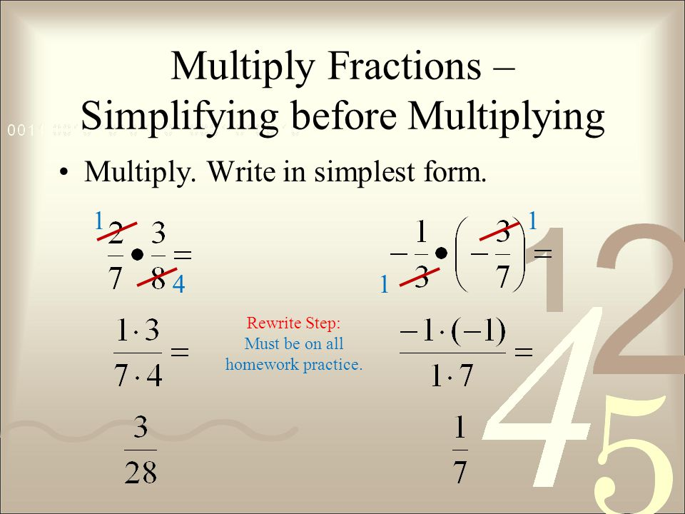 Multiply Fractions – Simplifying before Multiplying