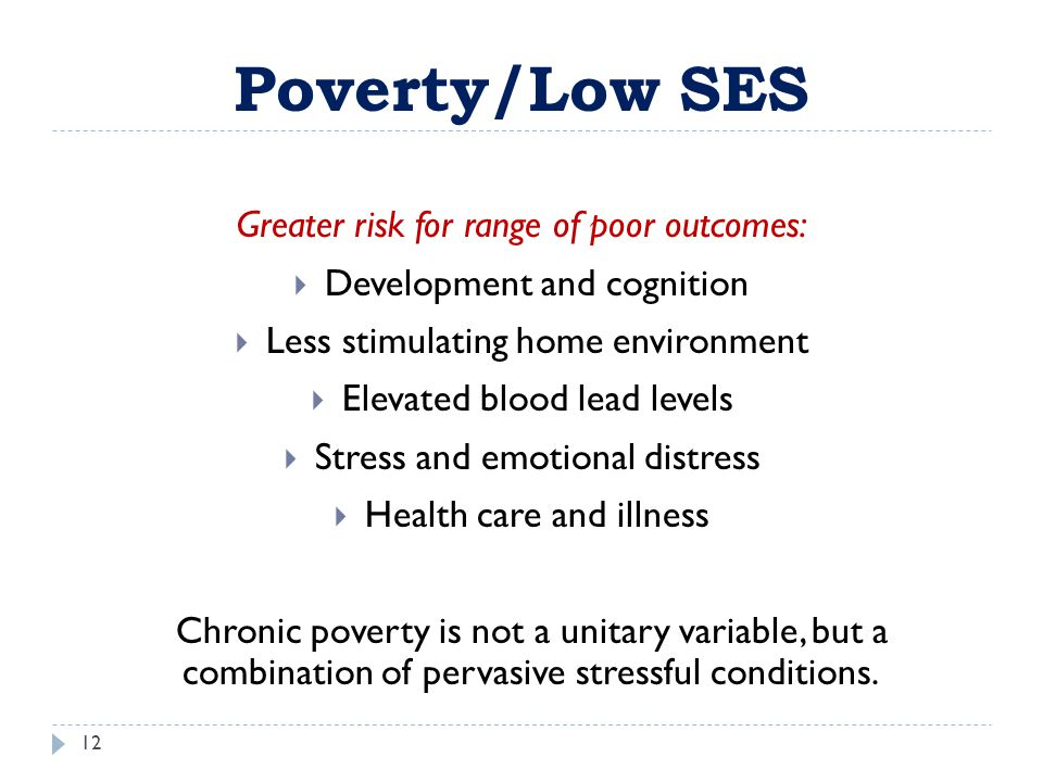 Poverty/Low SES Greater risk for range of poor outcomes: