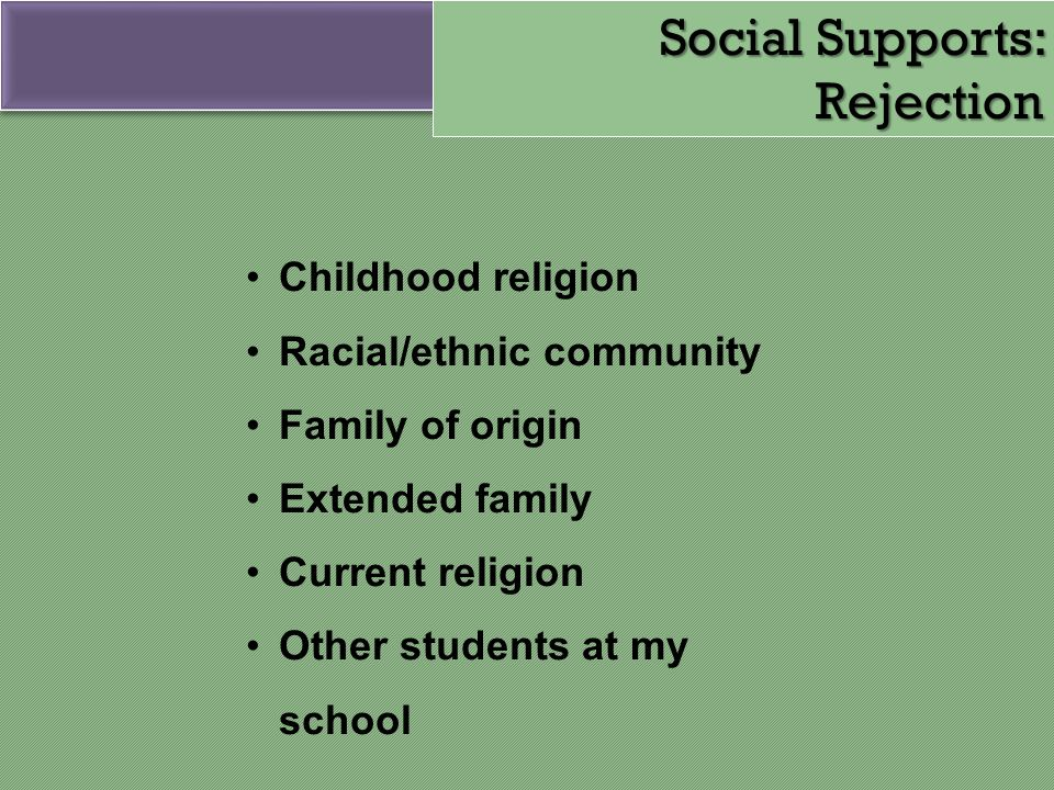 Social Supports: Rejection
