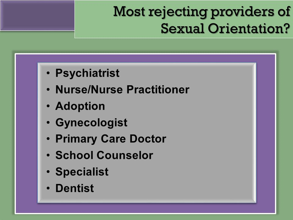 Most rejecting providers of Sexual Orientation