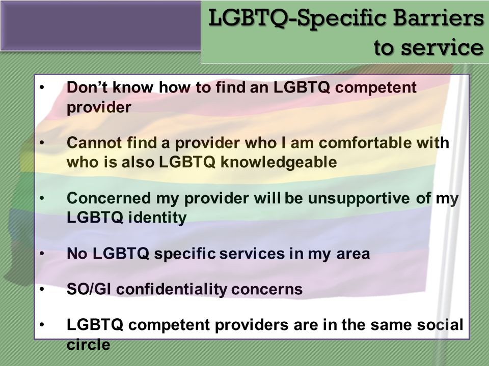 LGBTQ-Specific Barriers to service
