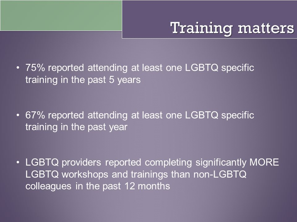Training matters 75% reported attending at least one LGBTQ specific training in the past 5 years.
