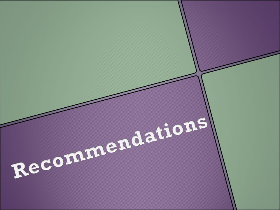 Recommendations Explain what they will see in the following slides