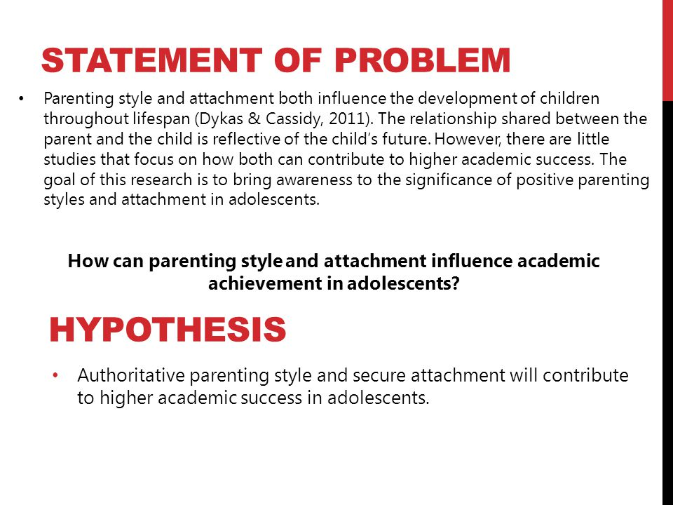 Statement of Problem Hypothesis