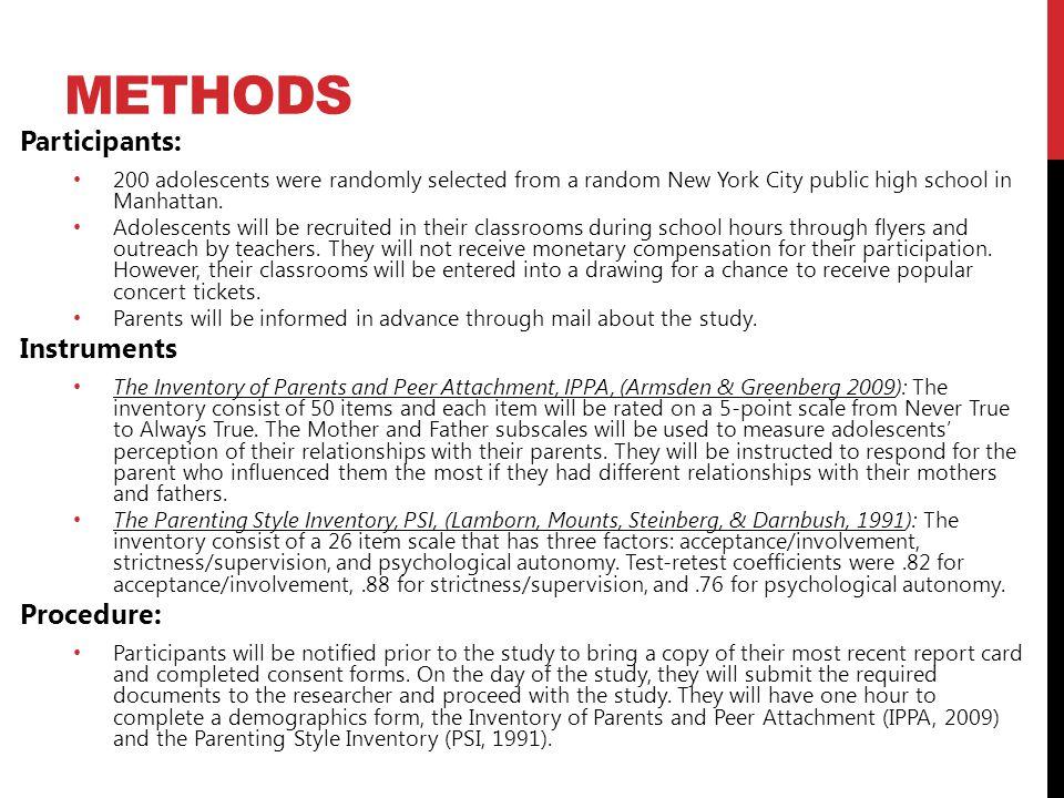 Methods Participants: Instruments Procedure: