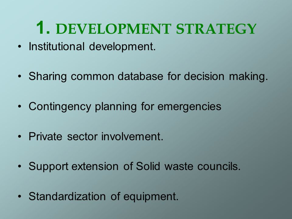 1. DEVELOPMENT STRATEGY Institutional development.