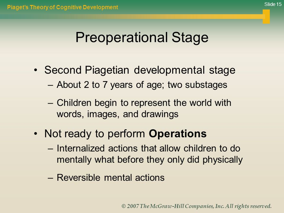 Preoperational Stage Second Piagetian developmental stage