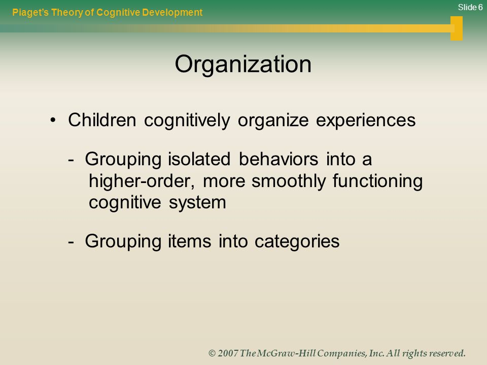 Organization Children cognitively organize experiences