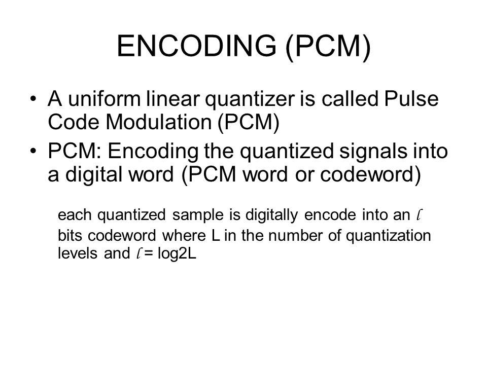 ENCODING (PCM) A uniform linear quantizer is called Pulse Code Modulation (PCM)