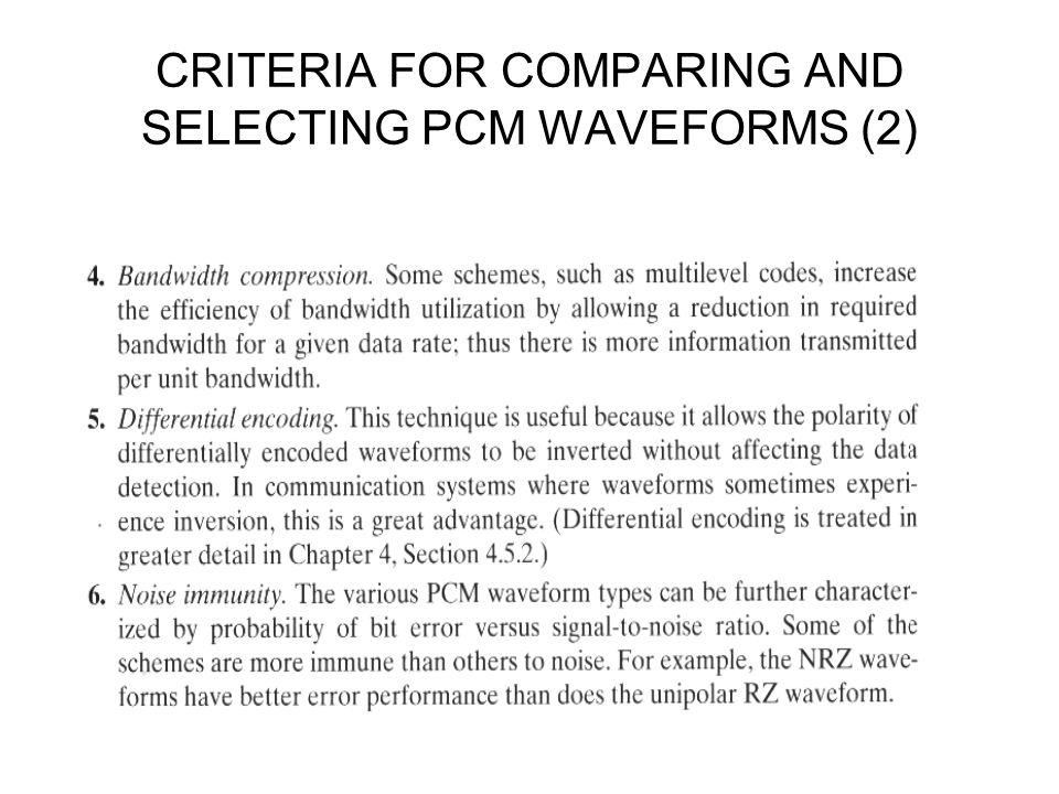 CRITERIA FOR COMPARING AND SELECTING PCM WAVEFORMS (2)