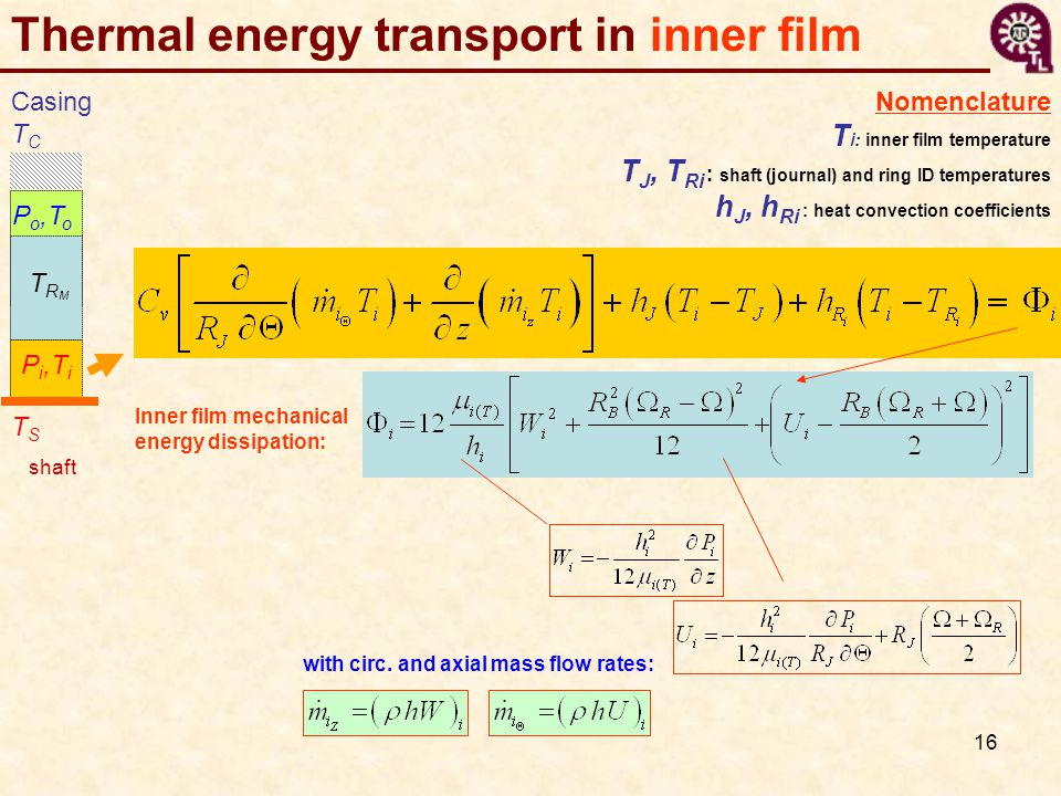 Thermal energy transport in inner film