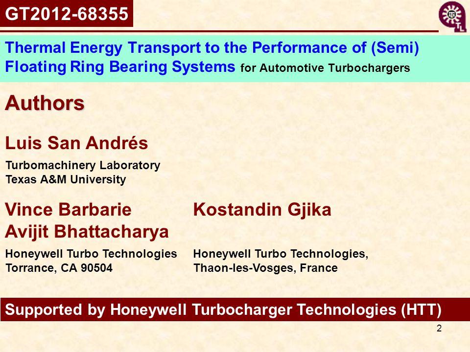 Authors GT2012-68355 Luis San Andrés Vince Barbarie