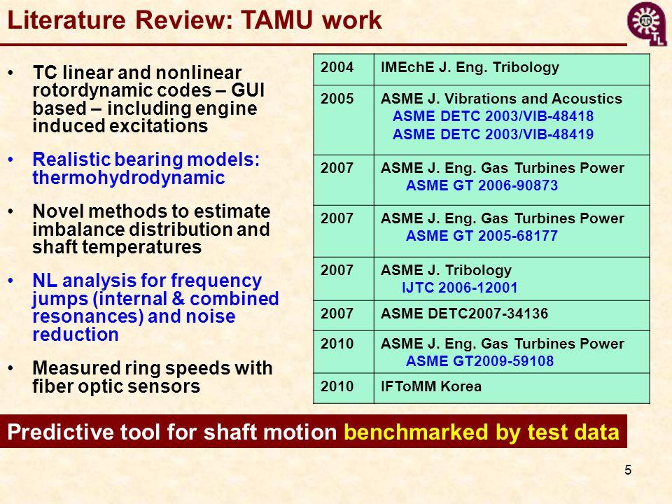 Literature Review: TAMU work
