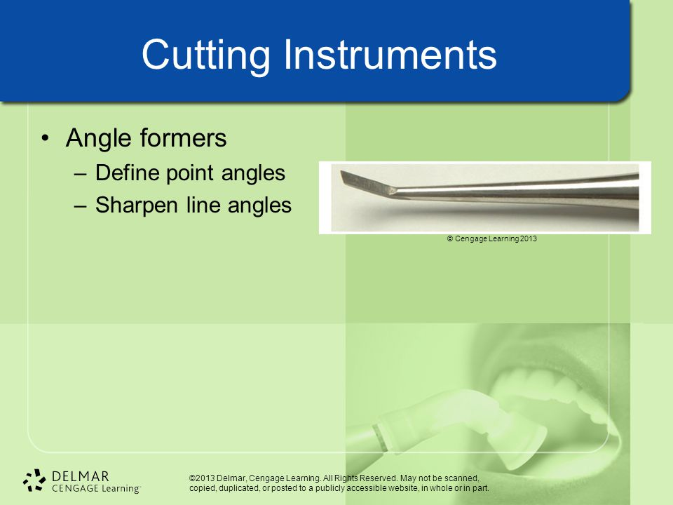 Cutting Instruments Angle formers Define point angles
