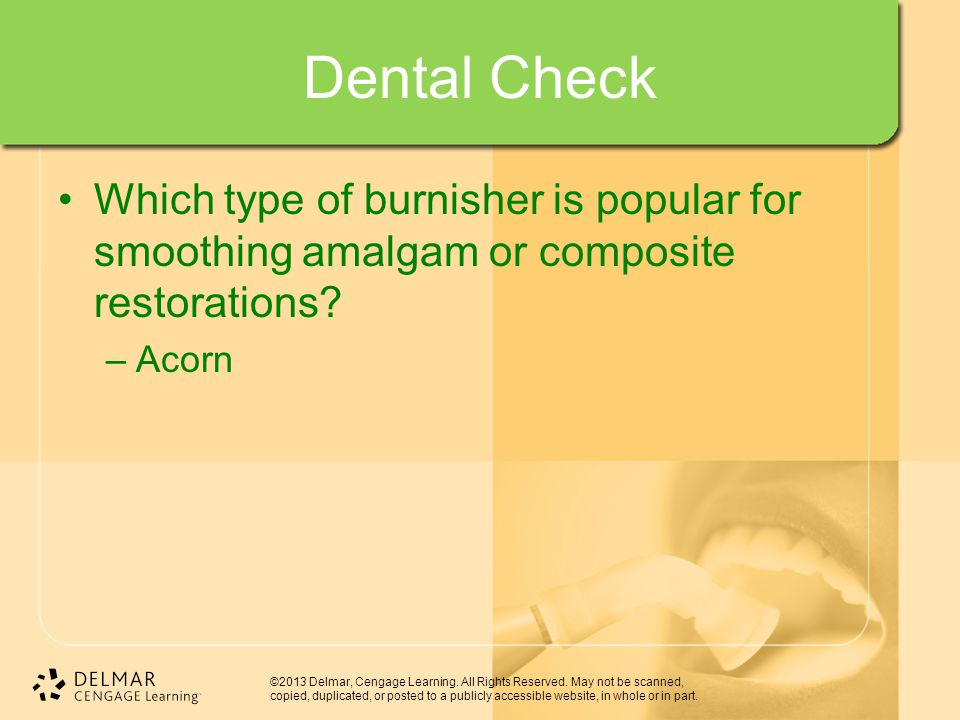 Dental Check Which type of burnisher is popular for smoothing amalgam or composite restorations.