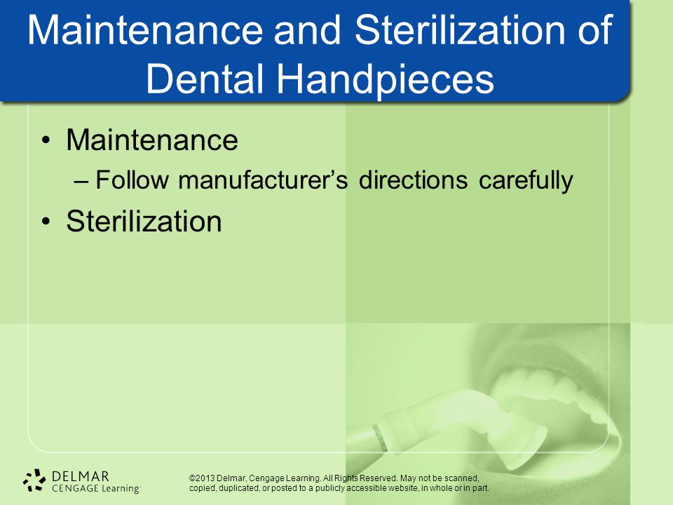 Maintenance and Sterilization of Dental Handpieces
