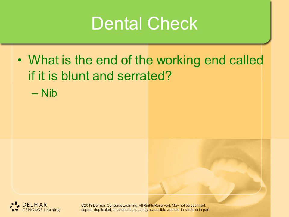 Dental Check What is the end of the working end called if it is blunt and serrated Nib