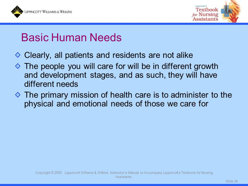 Basic Human Needs Clearly, all patients and residents are not alike