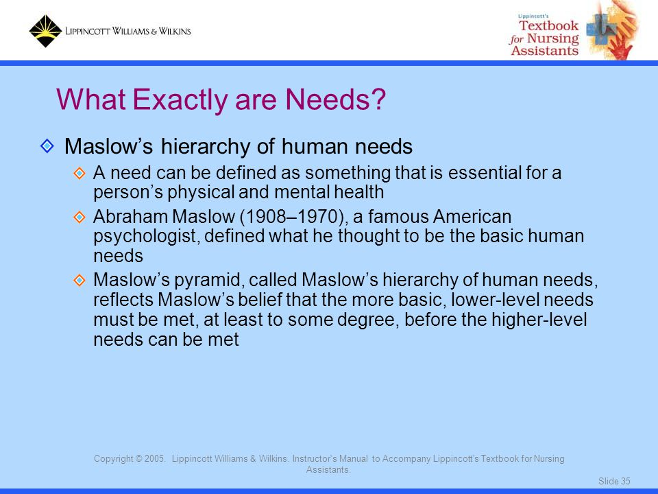 What Exactly are Needs Maslow's hierarchy of human needs