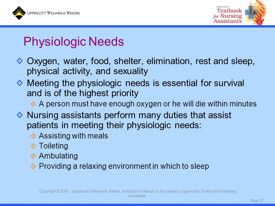 Physiologic Needs Oxygen, water, food, shelter, elimination, rest and sleep, physical activity, and sexuality.
