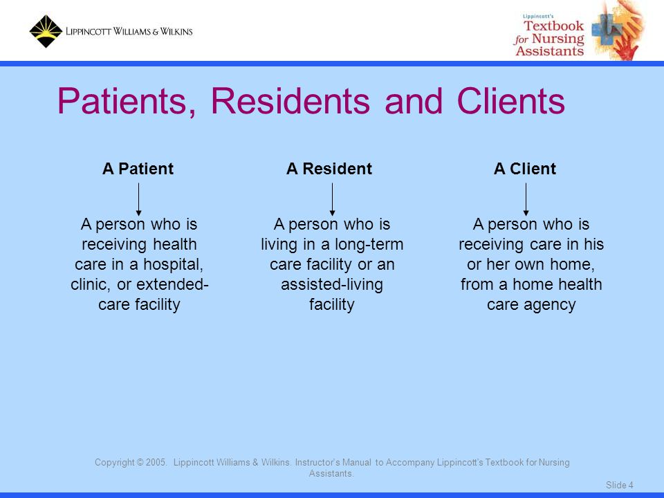 Patients, Residents and Clients