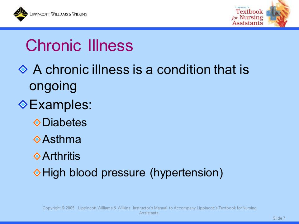 Chronic Illness A chronic illness is a condition that is ongoing