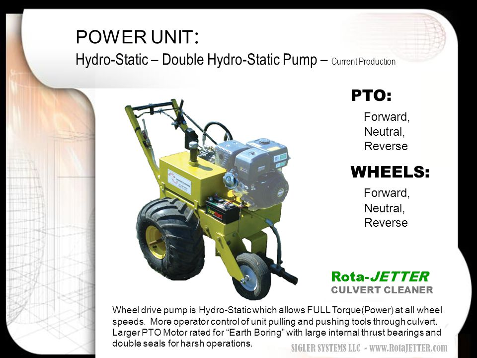 POWER UNIT: Hydro-Static – Double Hydro-Static Pump – Current Production