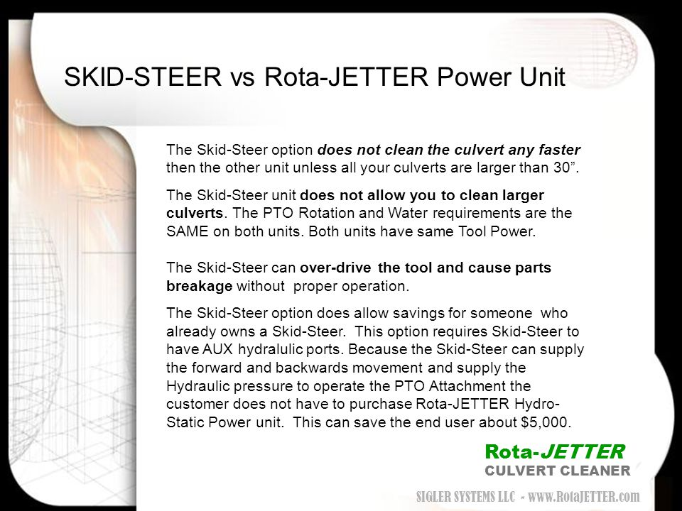 SKID-STEER vs Rota-JETTER Power Unit