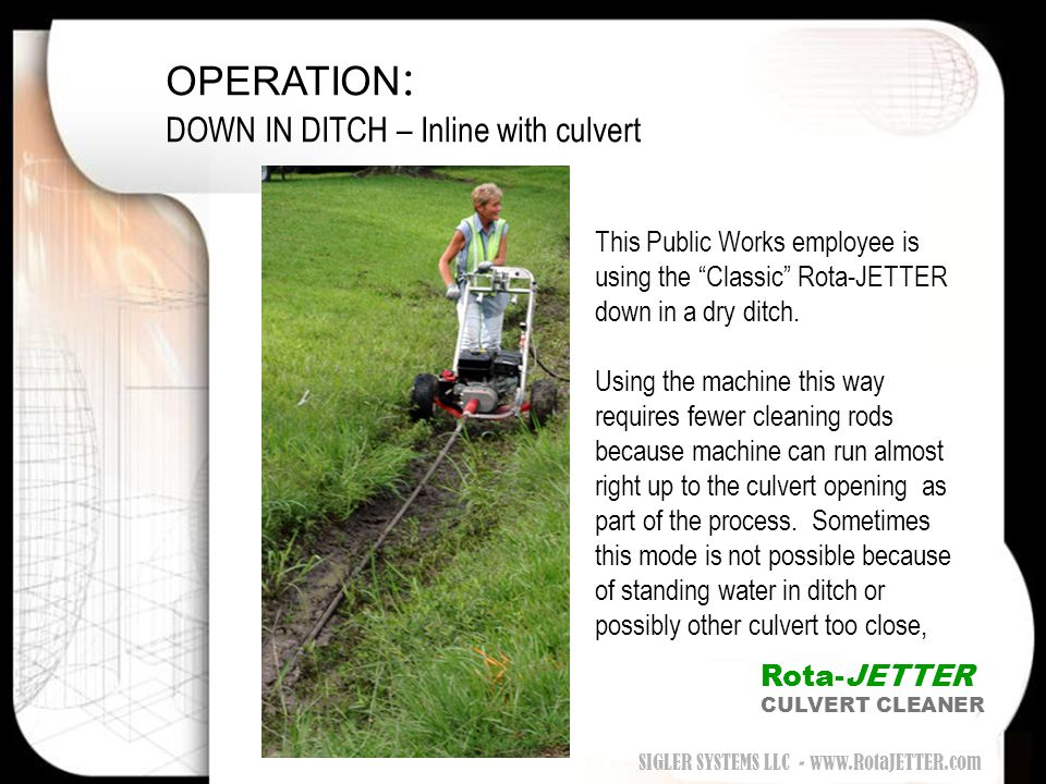 OPERATION: DOWN IN DITCH – Inline with culvert
