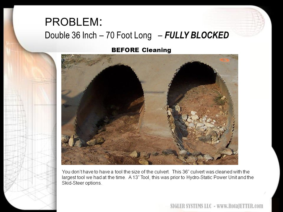 PROBLEM: Double 36 Inch – 70 Foot Long – FULLY BLOCKED