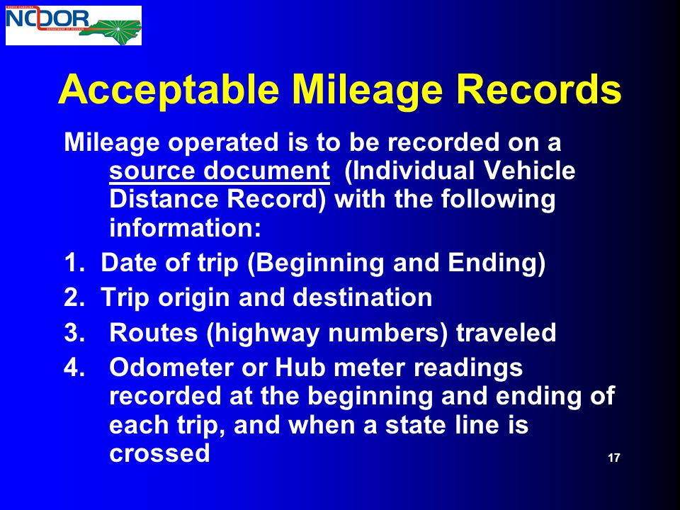 Acceptable Mileage Records