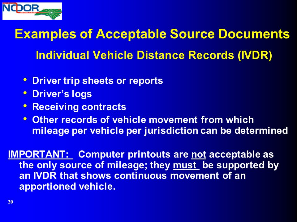 Examples of Acceptable Source Documents Individual Vehicle Distance Records (IVDR)
