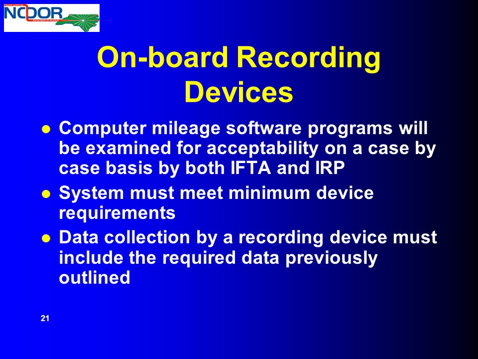 On-board Recording Devices