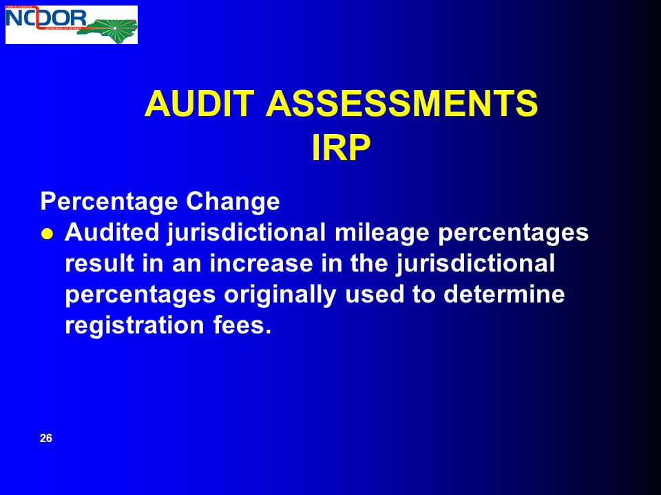 AUDIT ASSESSMENTS IRP Percentage Change