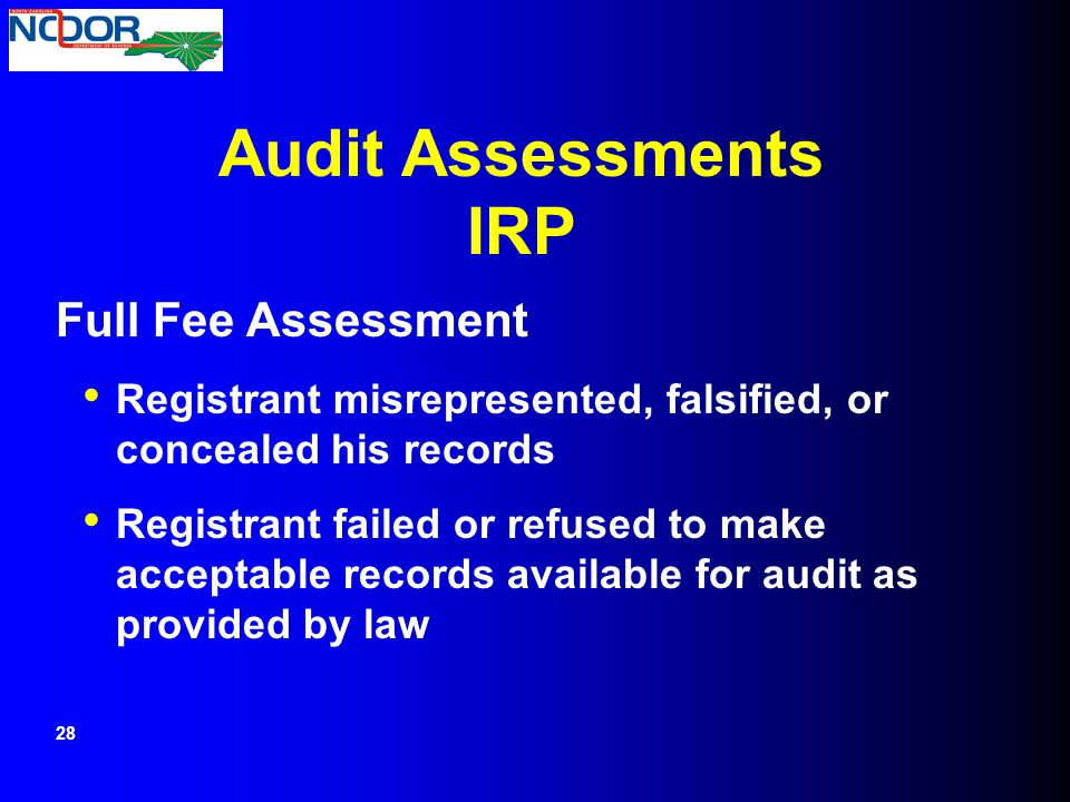 Audit Assessments IRP Full Fee Assessment