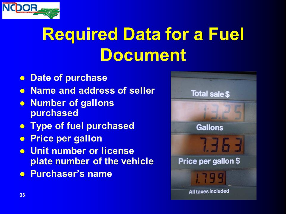 Required Data for a Fuel Document