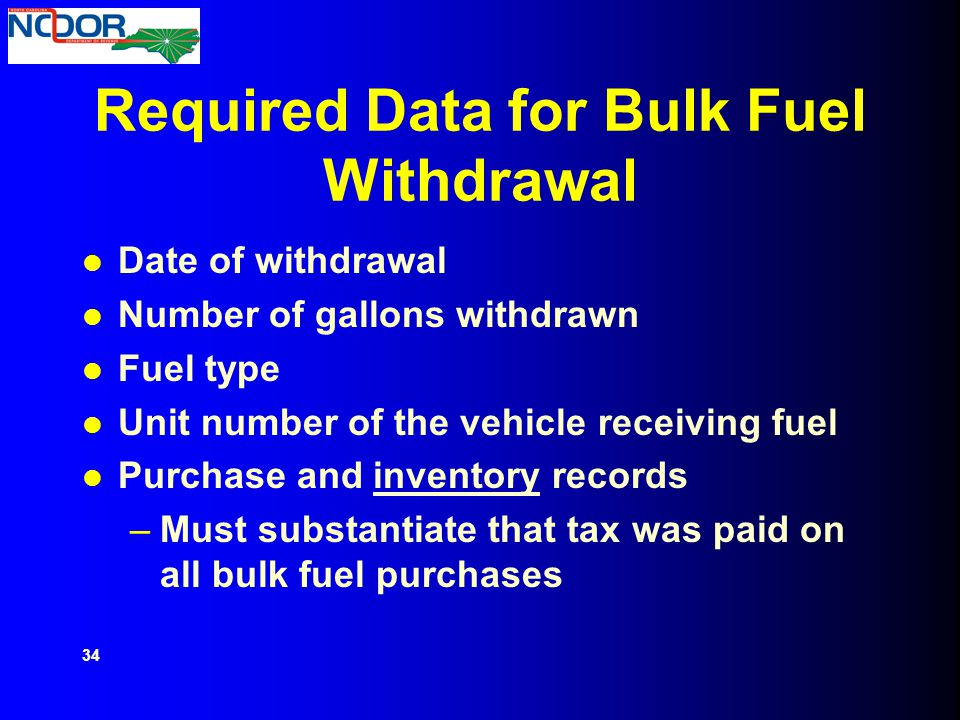 Required Data for Bulk Fuel Withdrawal
