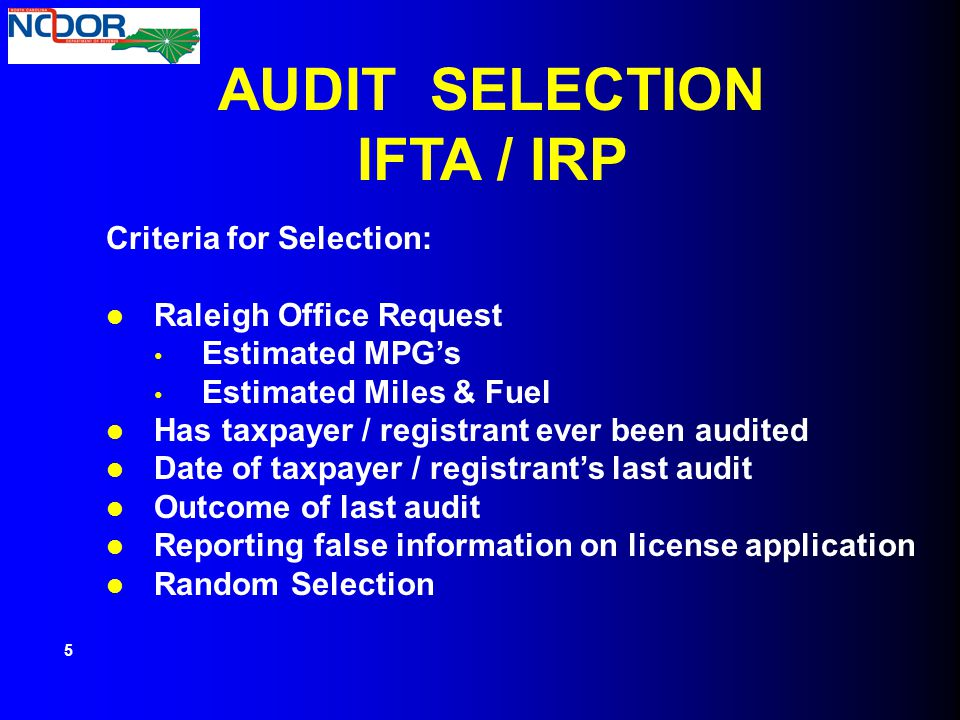 AUDIT SELECTION IFTA / IRP