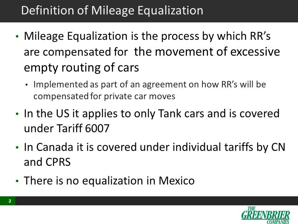Definition of Mileage Equalization