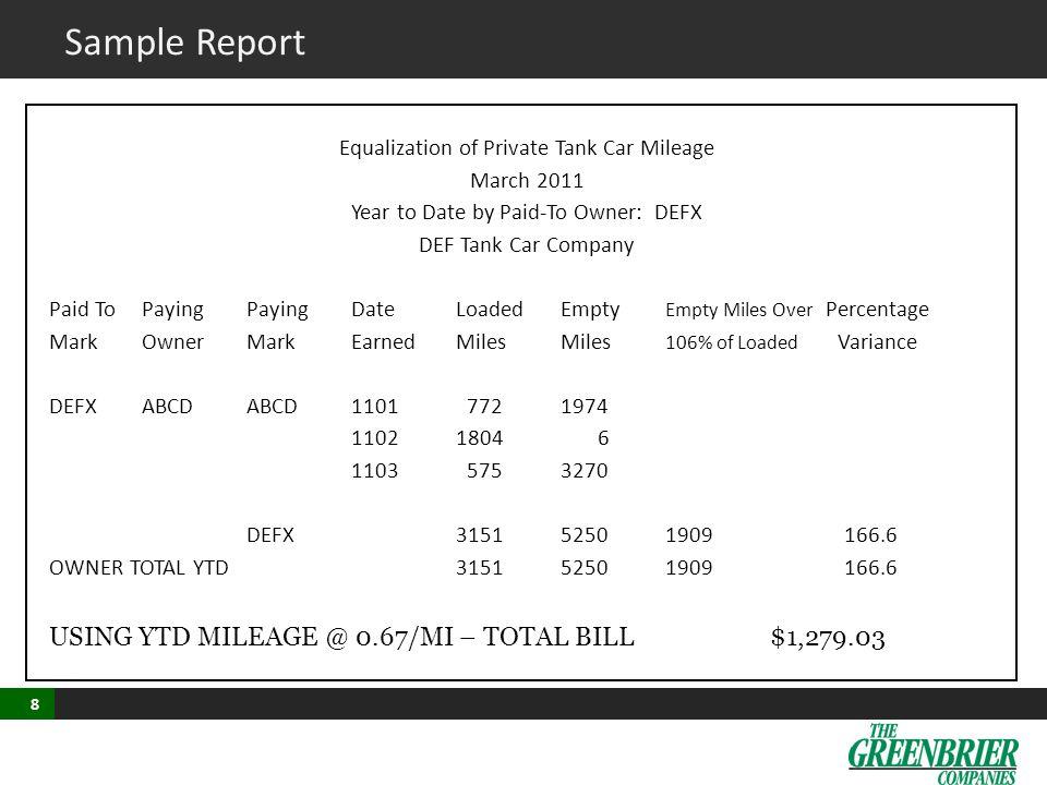 Sample Report 3341 USING YTD MILEAGE @ 0.67/MI – TOTAL BILL $1,279.03