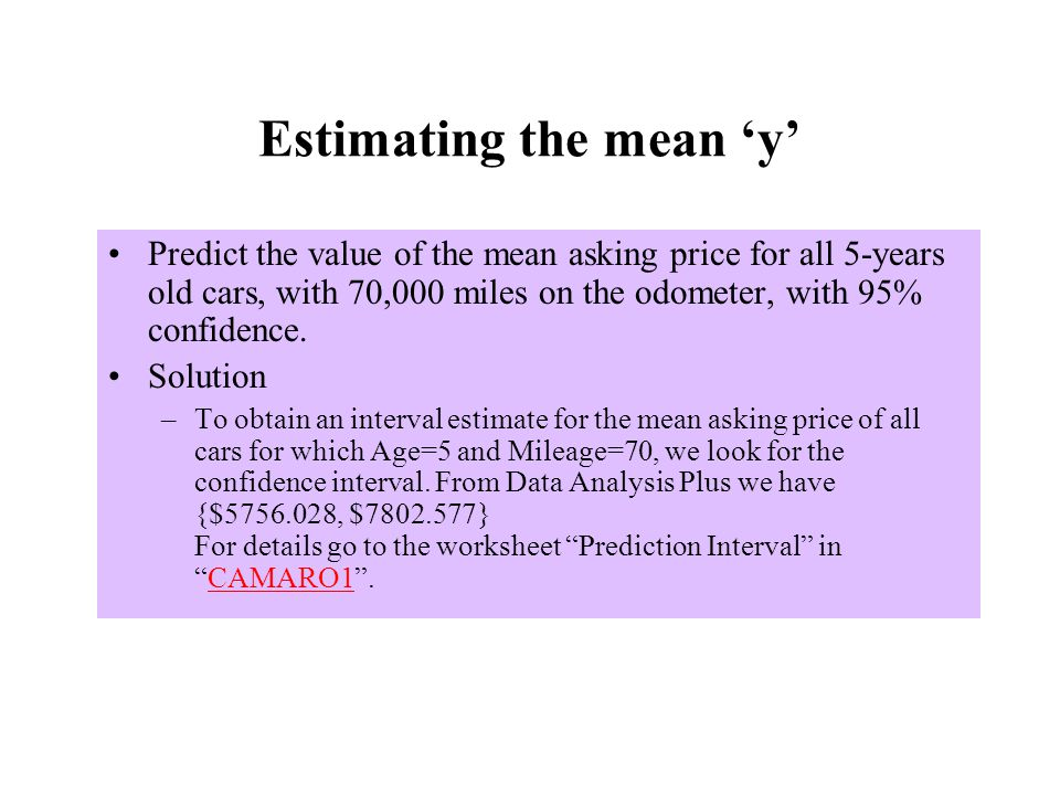 Estimating the mean 'y'