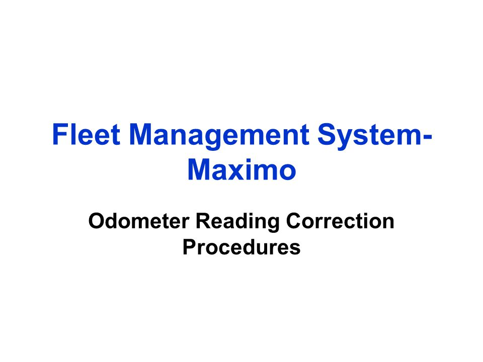Fleet Management System-Maximo