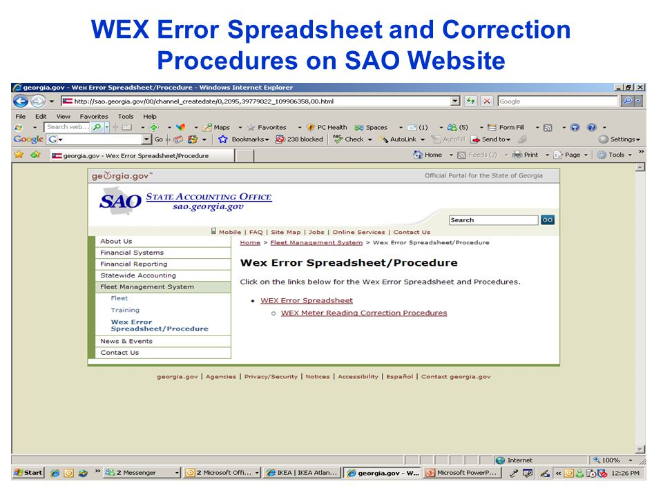 WEX Error Spreadsheet and Correction Procedures on SAO Website