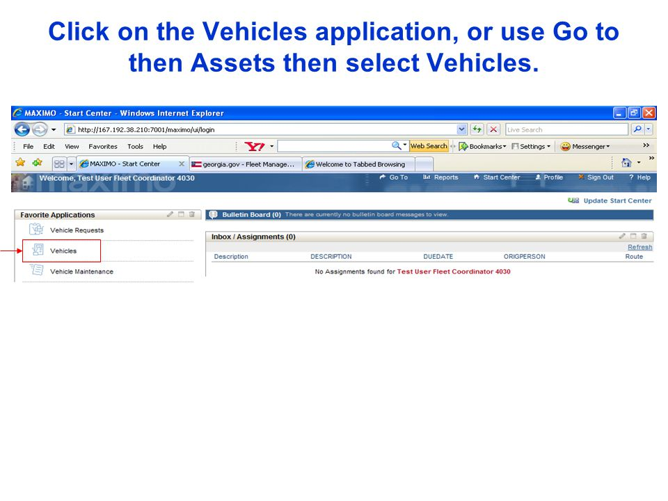 Click on the Vehicles application, or use Go to then Assets then select Vehicles.