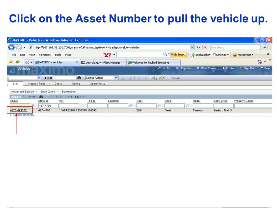 Click on the Asset Number to pull the vehicle up.