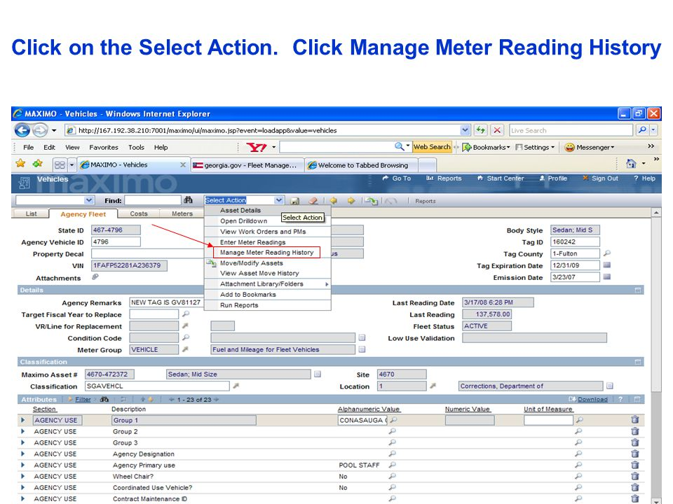 Click on the Select Action. Click Manage Meter Reading History