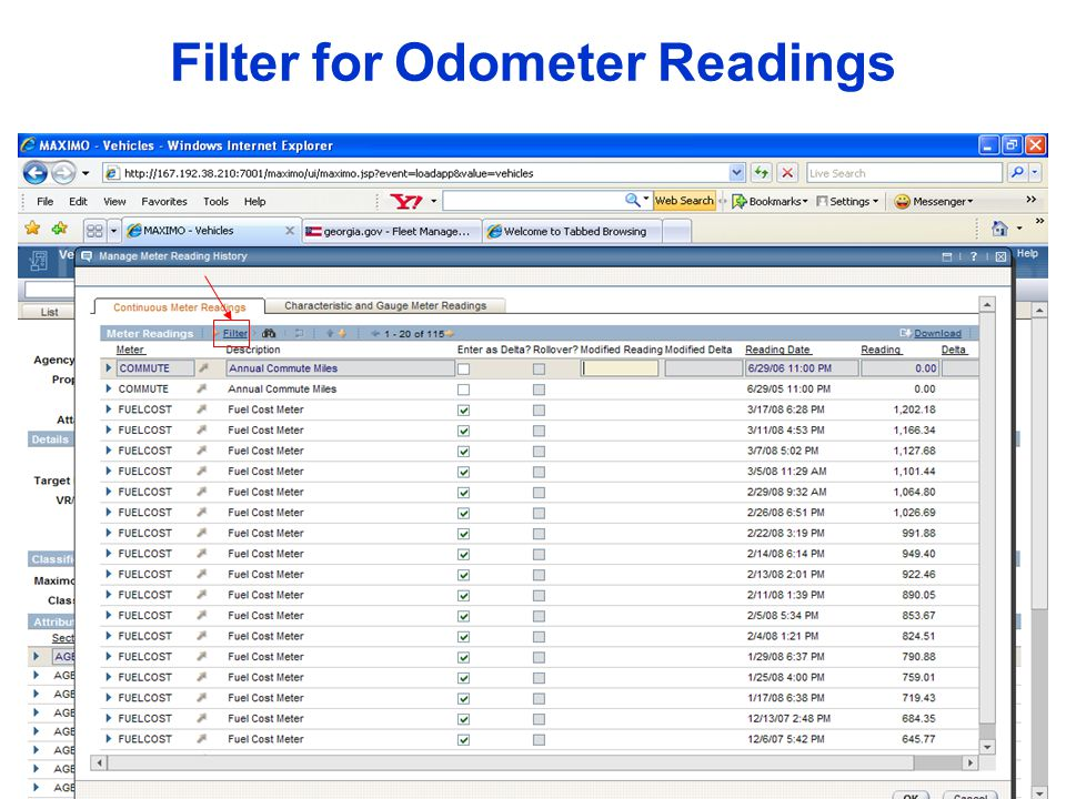 Filter for Odometer Readings